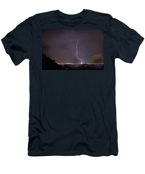 Men's T-Shirt (Slim Fit) featuring the photograph It's A Hit Transformer Lightning Strike by James BO Insogna