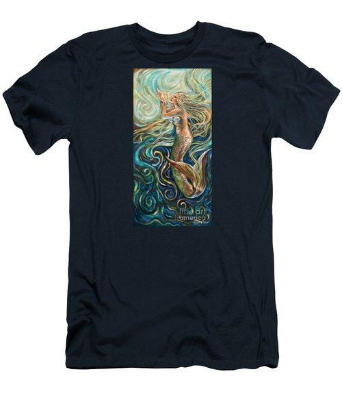 Treasure Mermaid Men's T-Shirt (Slim Fit) by Linda Olsen