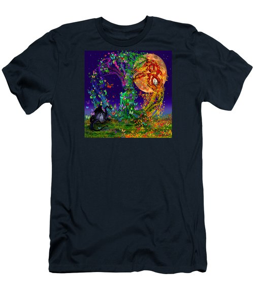 Tree Of Life With Owl And Dragon Men's T-Shirt (Athletic Fit)