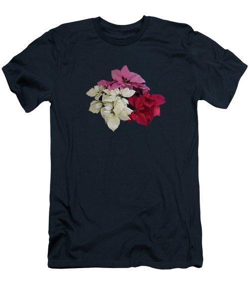 Men's T-Shirt (Slim Fit) featuring the photograph Tricolor Poinsettias Transparent Background   by R  Allen Swezey