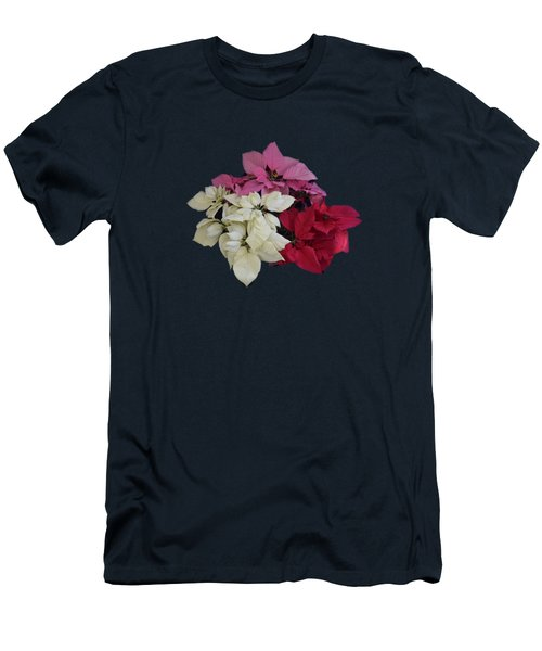 Tricolor Poinsettias Transparent Background   Men's T-Shirt (Athletic Fit)