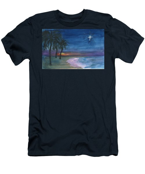 Men's T-Shirt (Slim Fit) featuring the painting Tropical Christmas by Donna Walsh