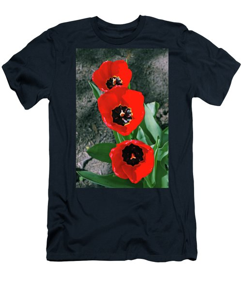 Men's T-Shirt (Slim Fit) featuring the photograph Tulip Trio by LeeAnn McLaneGoetz McLaneGoetzStudioLLCcom