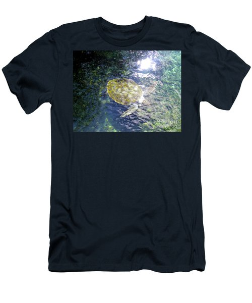 Men's T-Shirt (Athletic Fit) featuring the photograph Turtle Water Glide by Francesca Mackenney