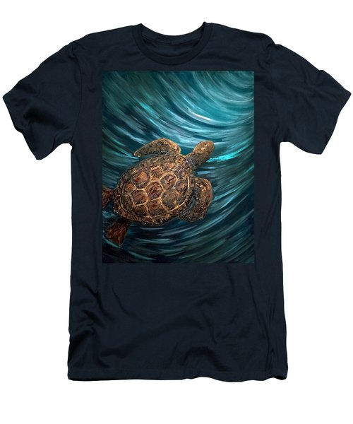 Turtle Wave Deep Blue Men's T-Shirt (Athletic Fit)
