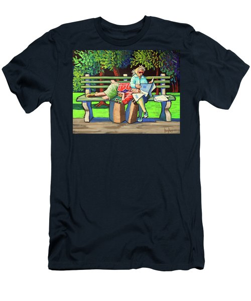 Two Ladies On Bench Men's T-Shirt (Athletic Fit)