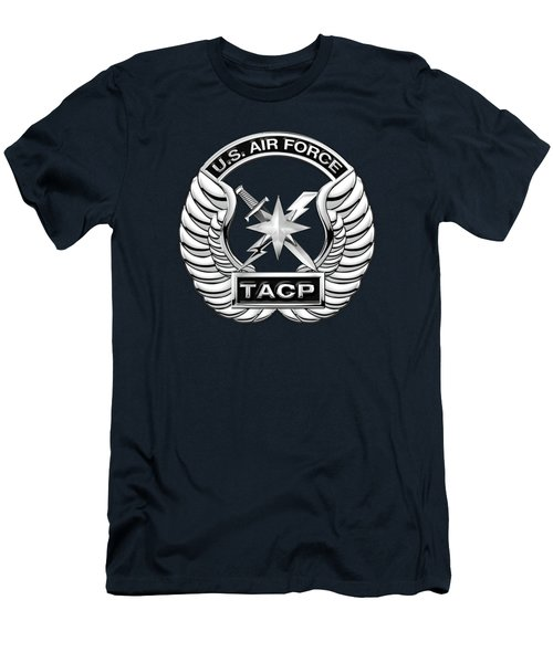 Men's T-Shirt (Slim Fit) featuring the digital art U. S.  Air Force Tactical Air Control Party -  T A C P  Badge Over Blue Velvet by Serge Averbukh