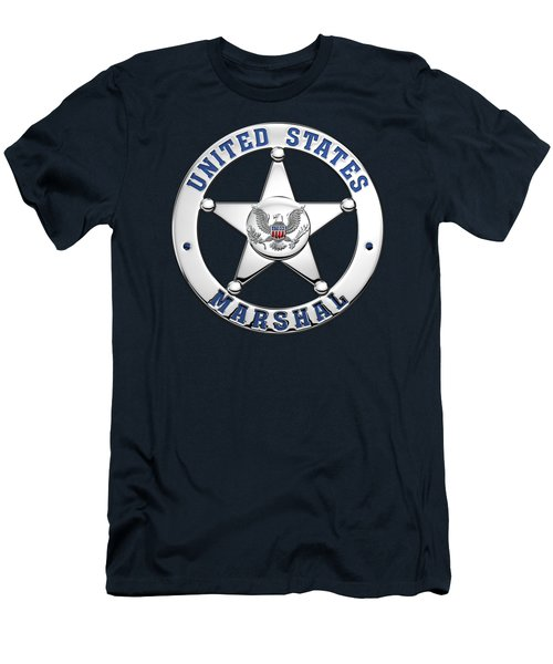 Men's T-Shirt (Slim Fit) featuring the digital art U. S. Marshals Service  -  U S M S  Badge Over Blue Velvet by Serge Averbukh