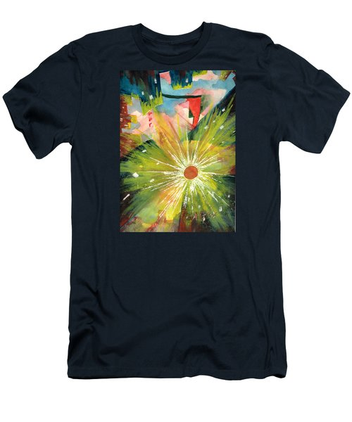 Men's T-Shirt (Slim Fit) featuring the painting Urban Sunburst by Andrew Gillette