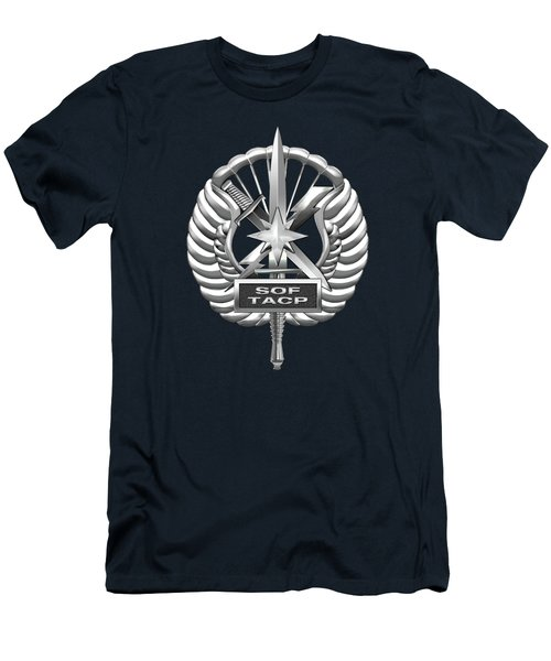 Men's T-Shirt (Slim Fit) featuring the digital art U.s. Air Force Tactical Air Control Party - Special Tactics Tacp Crest Over Blue Velvet by Serge Averbukh