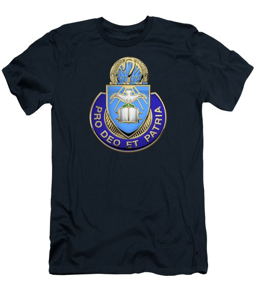 Men's T-Shirt (Slim Fit) featuring the digital art U. S. Army Chaplain Corps - Regimental Insignia Over Blue Velvet by Serge Averbukh