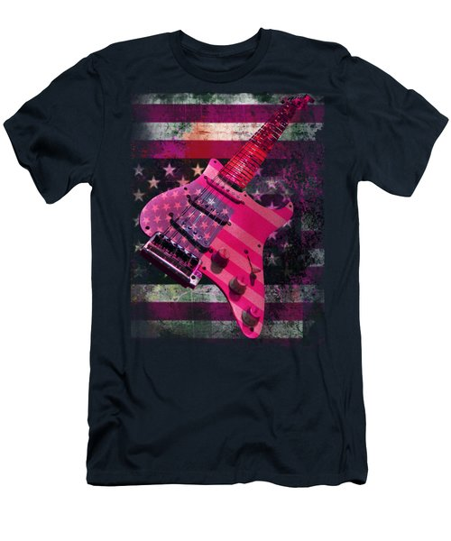 Usa Pink Strat Guitar Music Men's T-Shirt (Athletic Fit)