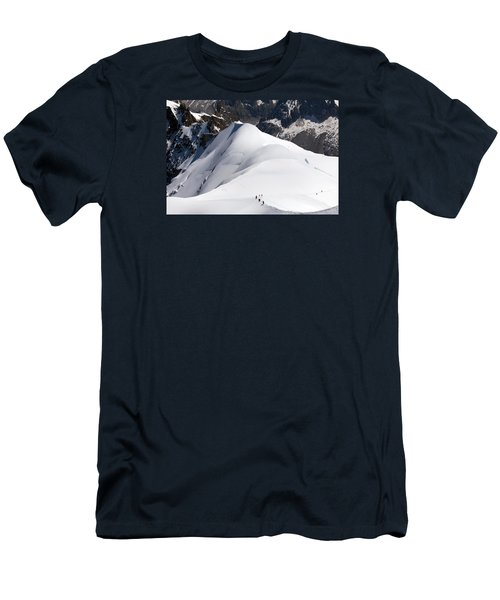 View From Aguille Du Midi Men's T-Shirt (Slim Fit) by Aivar Mikko