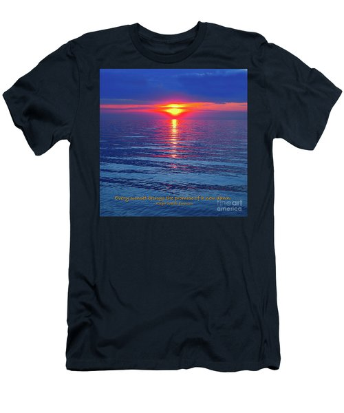Men's T-Shirt (Slim Fit) featuring the photograph Vivid Sunset - Emerson Quote - Square Format by Ginny Gaura