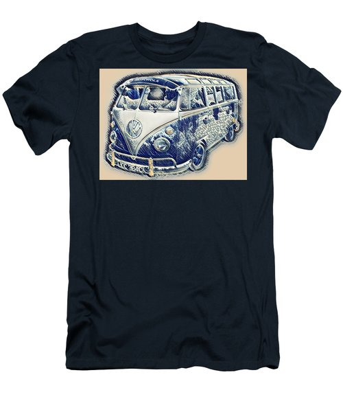 Vw Camper Van Waves Men's T-Shirt (Slim Fit) by John Colley