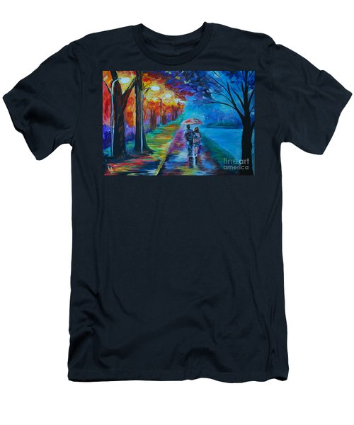 Men's T-Shirt (Slim Fit) featuring the painting Walk By The Lake  by Leslie Allen