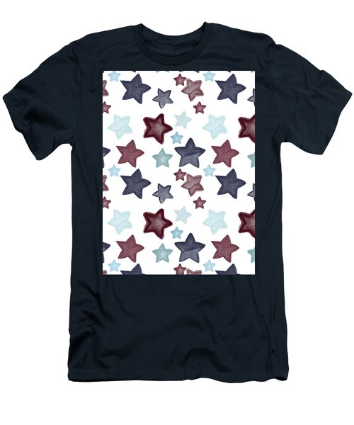 Watercolor Blue Red Stars Men's T-Shirt (Athletic Fit)