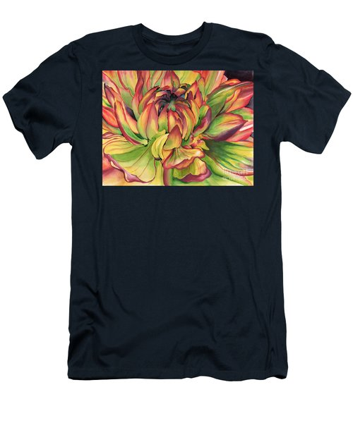 Watercolor Dahlia Men's T-Shirt (Slim Fit) by Angela Armano