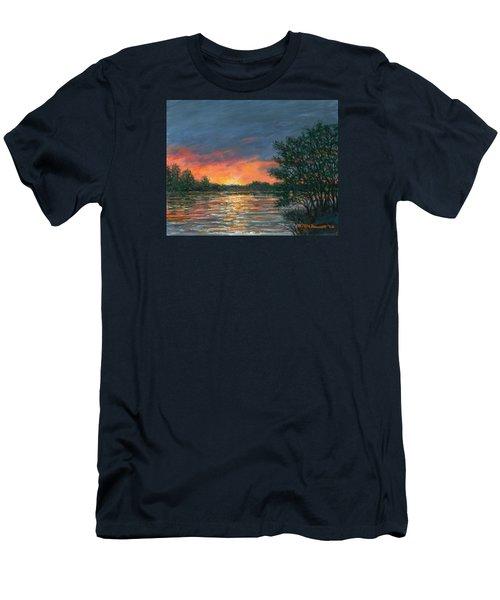 Men's T-Shirt (Slim Fit) featuring the painting Waterway Sundown by Kathleen McDermott