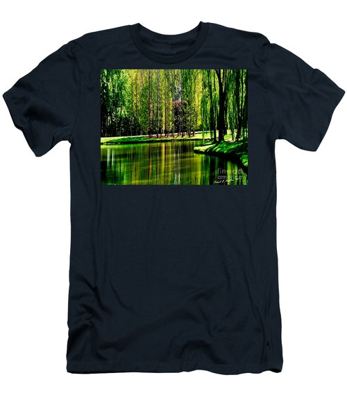Weeping Willow Tree Reflective Moments Men's T-Shirt (Slim Fit) by Carol F Austin