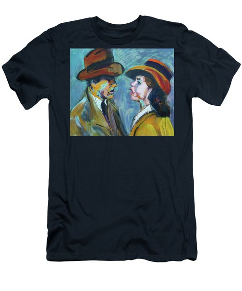 Men's T-Shirt (Slim Fit) featuring the painting We'll Always Have Paris by Les Leffingwell
