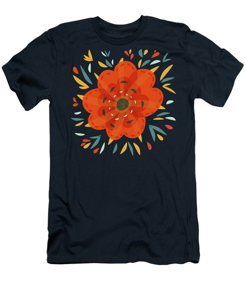 Whimsical Decorative Orange Flower Men's T-Shirt (Athletic Fit)