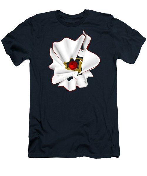 White Abstract Flower Men's T-Shirt (Athletic Fit)