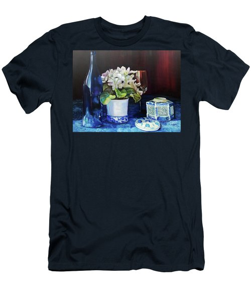 Men's T-Shirt (Athletic Fit) featuring the painting White African Violets by Marlene Book