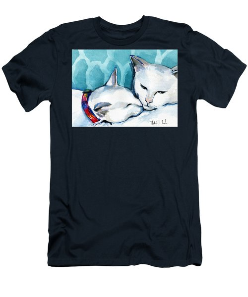 White Cat Affection Men's T-Shirt (Athletic Fit)