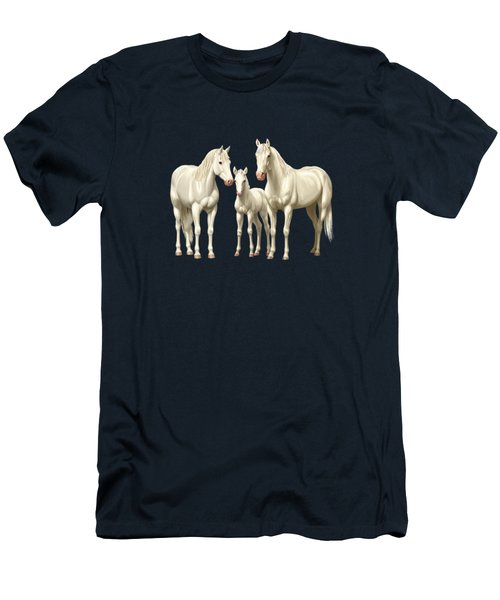 White Horses In Winter Pasture Men's T-Shirt (Athletic Fit)