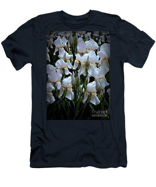 White Iris Garden Men's T-Shirt (Slim Fit) by Sherry Hallemeier