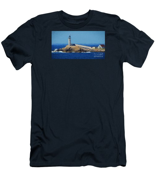 Men's T-Shirt (Slim Fit) featuring the painting White Island Lighthouse by Mim White