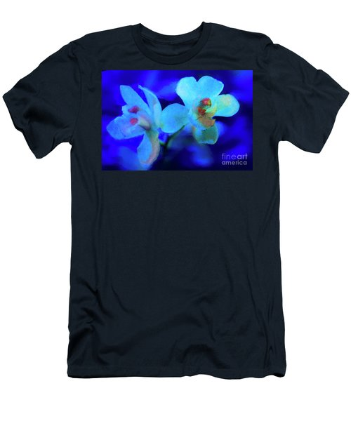 Men's T-Shirt (Slim Fit) featuring the digital art White Painted Orchids by Darleen Stry