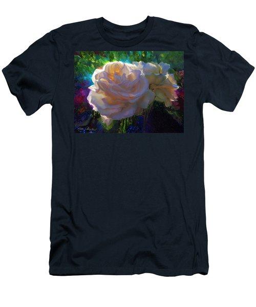 White Roses In The Garden - Backlit Flowers - Summer Rose Men's T-Shirt (Athletic Fit)