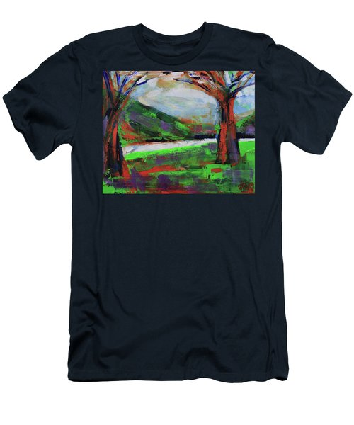 Men's T-Shirt (Athletic Fit) featuring the painting Wild Flowers On The River Banks by Walter Fahmy