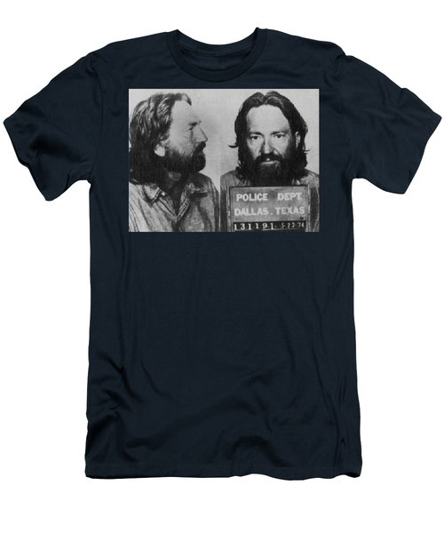 Willie Nelson Mug Shot Horizontal Black And White Men's T-Shirt (Athletic Fit)