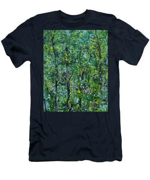 Men's T-Shirt (Athletic Fit) featuring the painting Windsor Way Woods by Judith Rhue