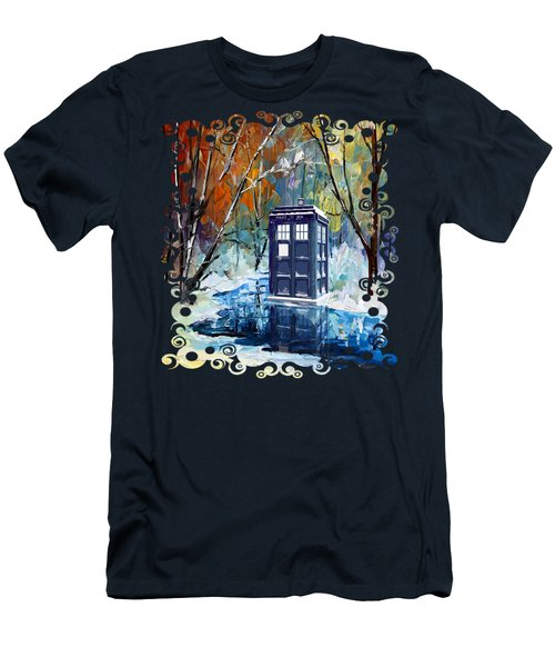 Winter Blue Phone Box Men's T-Shirt (Athletic Fit)