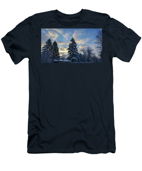 Winter Dawn Over Spruce Trees Men's T-Shirt (Athletic Fit)