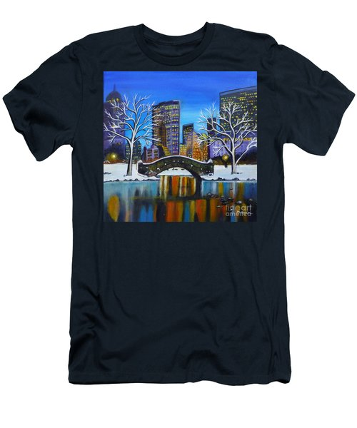 Winter In New York- Night Landscape Men's T-Shirt (Athletic Fit)