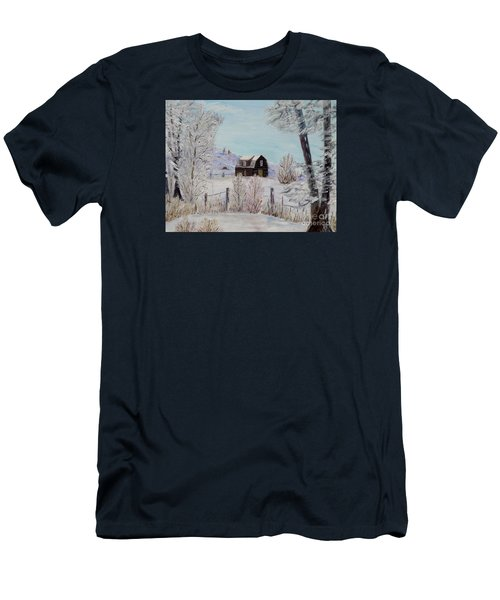 Men's T-Shirt (Slim Fit) featuring the painting Winter Solace by Marilyn  McNish