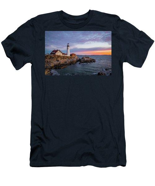 Winter Sunrise Over Portland Head Light Men's T-Shirt (Athletic Fit)