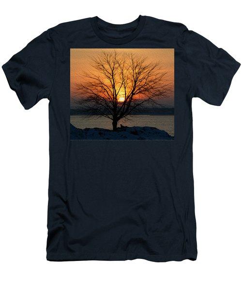 Winter Tree Sunrise Men's T-Shirt (Athletic Fit)