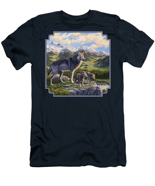 Wolf Painting - Passing It On Men's T-Shirt (Slim Fit) by Crista Forest