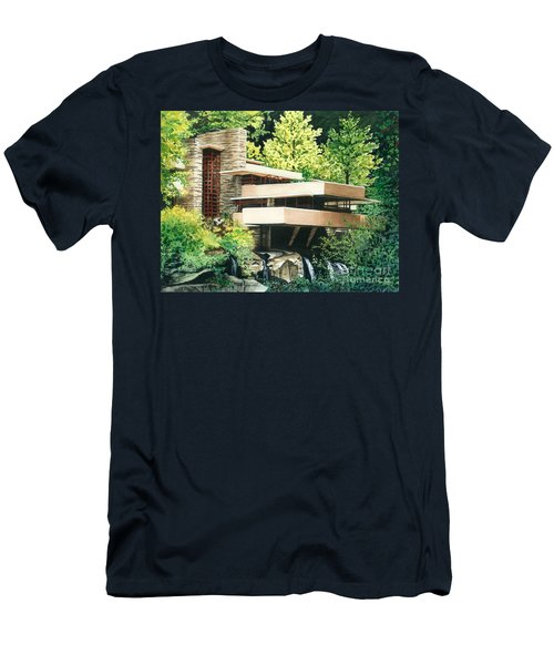 Men's T-Shirt (Slim Fit) featuring the painting Fallingwater-a Woodland Retreat By Frank Lloyd Wright by Barbara Jewell