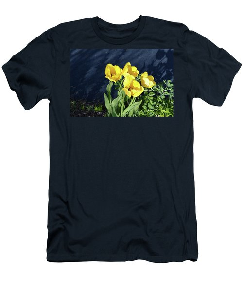 Yellow Tulips Men's T-Shirt (Slim Fit) by Kathleen Stephens