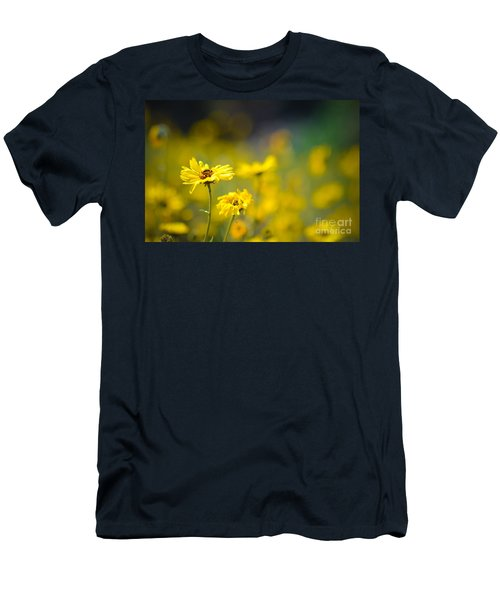 Yellow Wild Flowers Men's T-Shirt (Slim Fit) by Kelly Wade