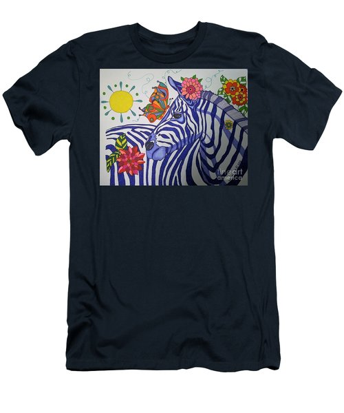 Zebra And Things Men's T-Shirt (Slim Fit) by Alison Caltrider