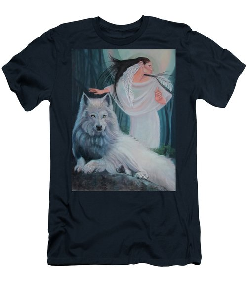 Zuni Maiden With Her White Wolf Men's T-Shirt (Athletic Fit)