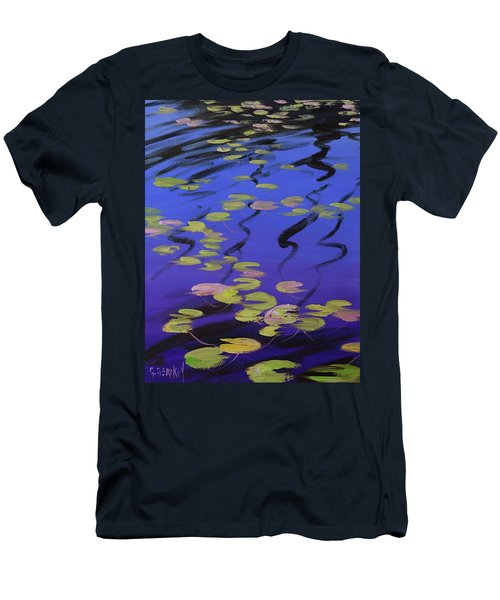 Lilies On Blue Water Men's T-Shirt (Athletic Fit)